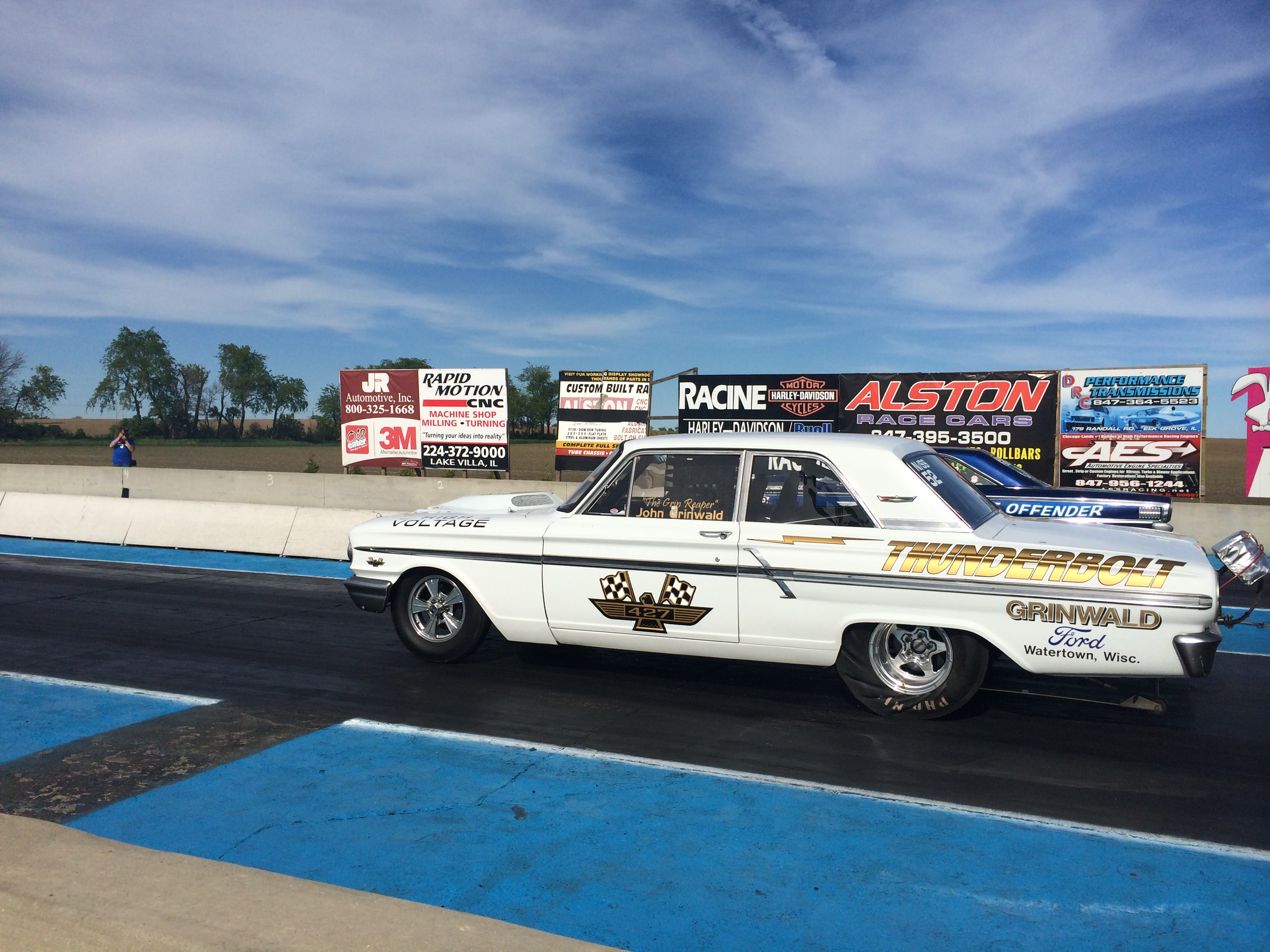 Nostalgia Super Stock Meet Our Members 1964 Dodge 330 Max Wedge Ford Thunder Bolt 2dr Sedan Owner John Grinwald Watertown Wi All Aluminum 513 Ci Fe Built By Roush Yates Liberty Clutchless 5 Speed With 7