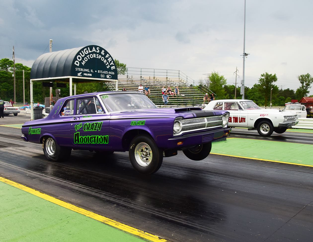 Nostalgia Super Stock Meet Our Members 1964 Dodge 330 Max Wedge Plum Crazy Addiction Is A 1965 426 Hemi Plymouth Belvedere The Car Owned By Marty And Melissa Bittle Of Belleville Il